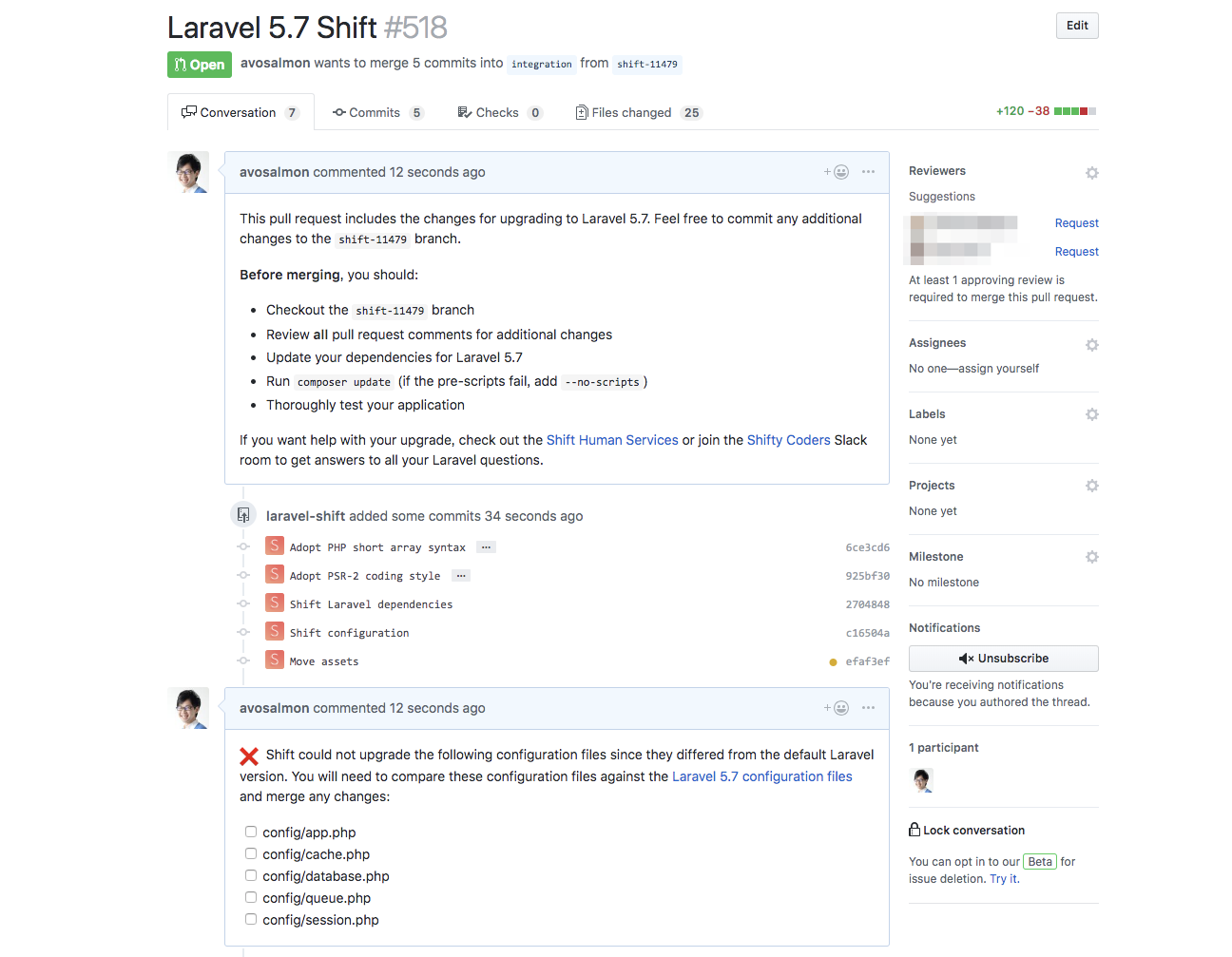 Excerpt of a pull request by Laravel Shift